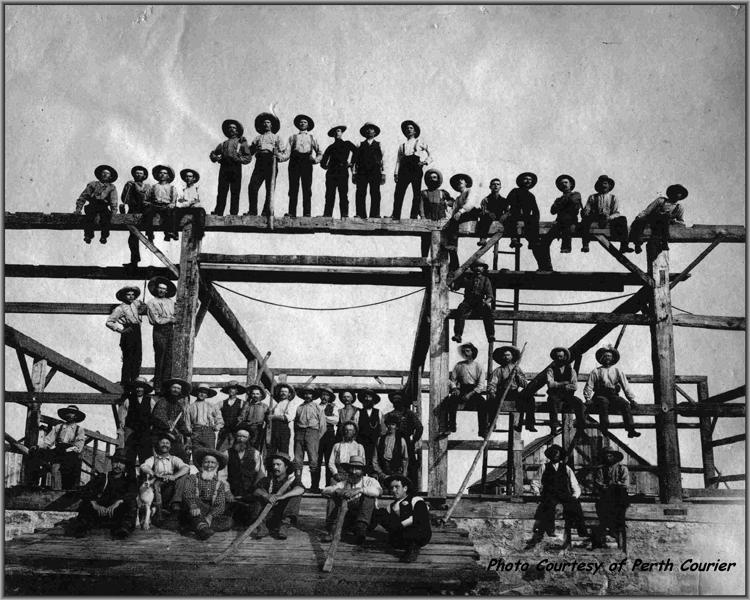 Scotch Line barn raising - photo courtesy of Perth Courier